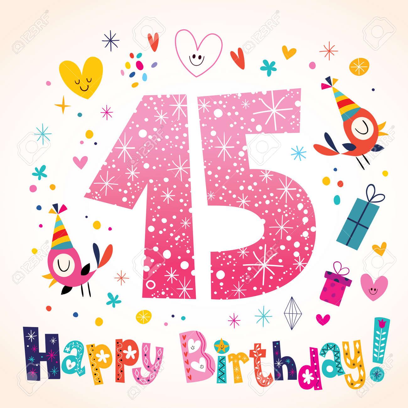 Happy birthday 15 years kids greeting card royalty free cliparts happy birthday 15 years kids greeting card stock vector 55590309 m4hsunfo