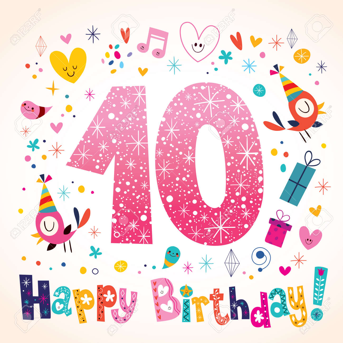 Happy Birthday 10 Years Kids Greeting Card Stock Vector