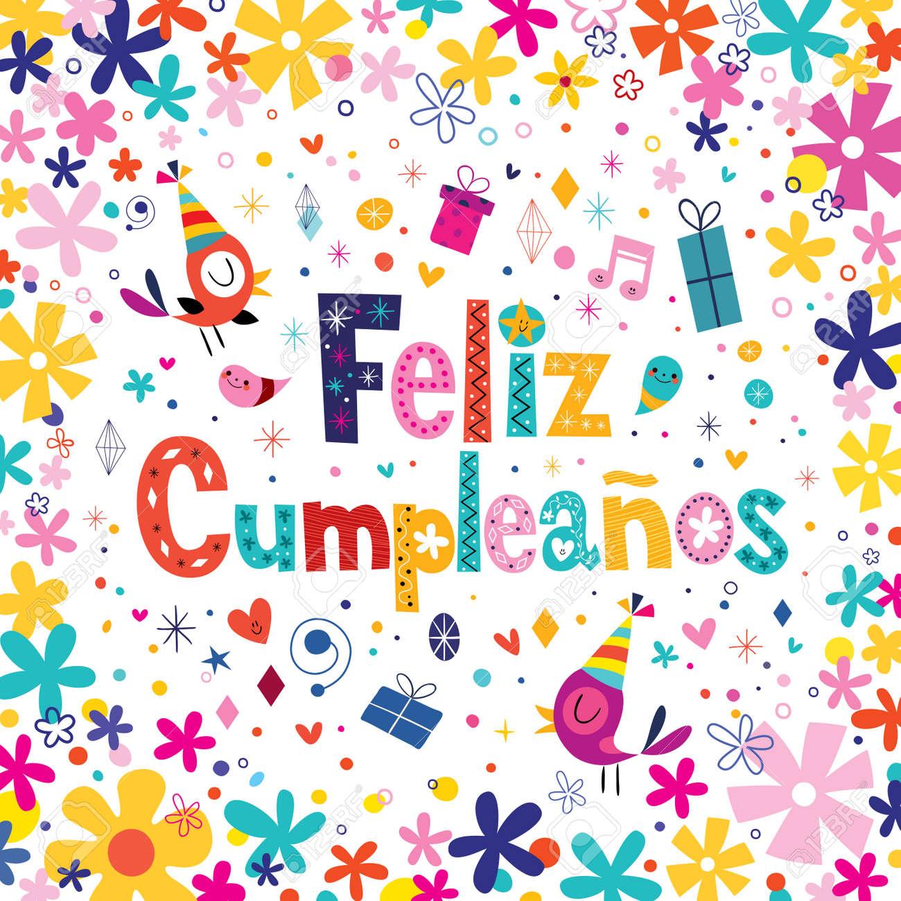 Feliz Cumpleanos Happy Birthday In Spanish Greeting Card Royalty