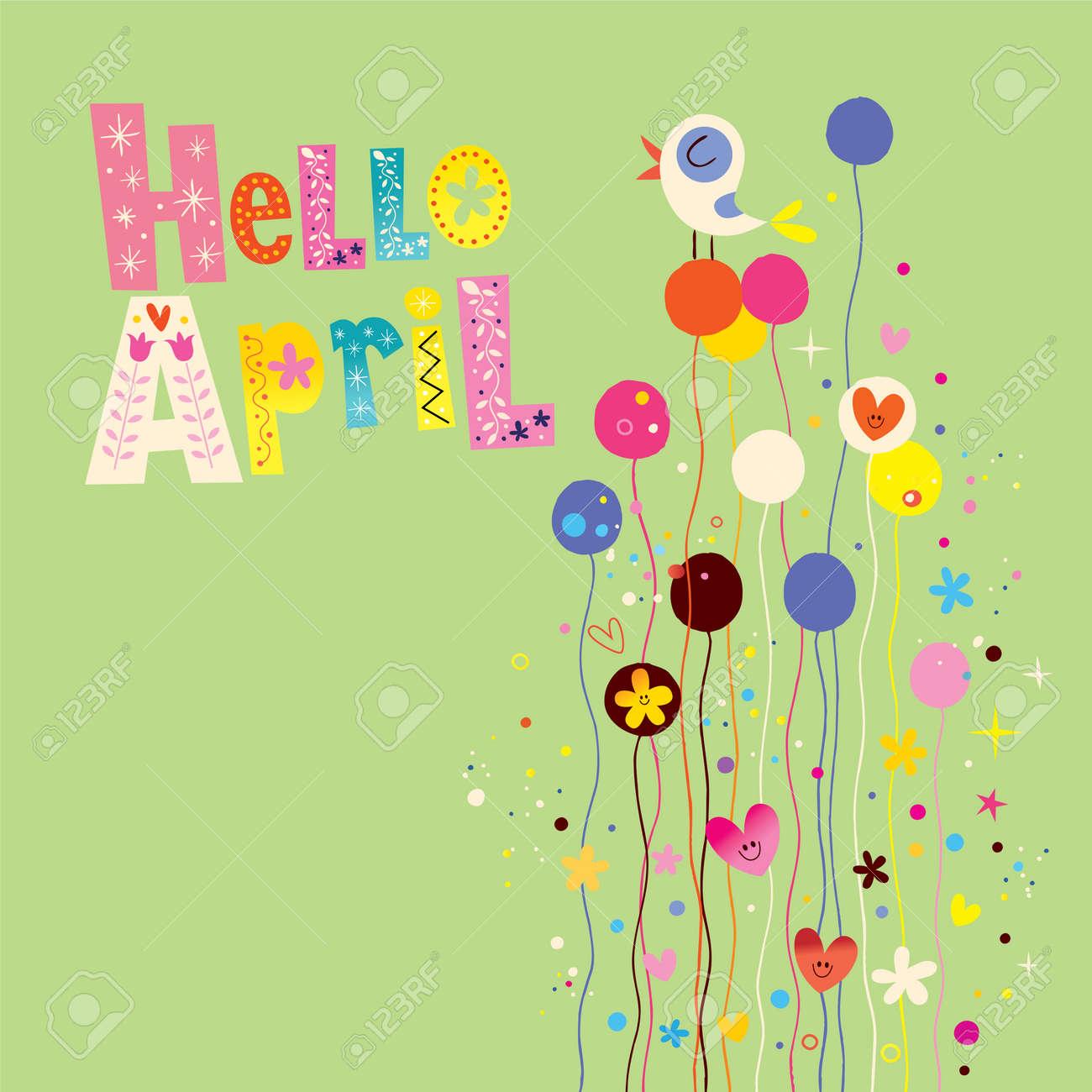 Hello april spring card - 54765874