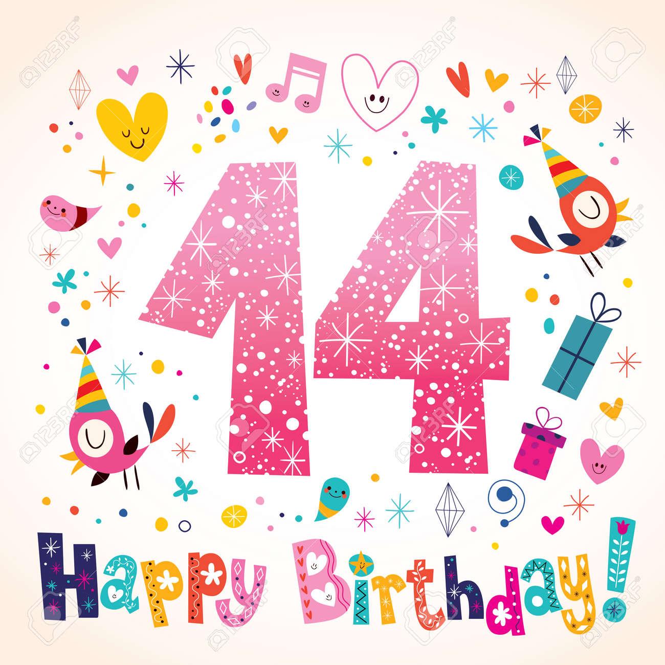 Alles Gute Zum Geburtstag 14 Jahre Kinder Grußkarte Lizenzfrei