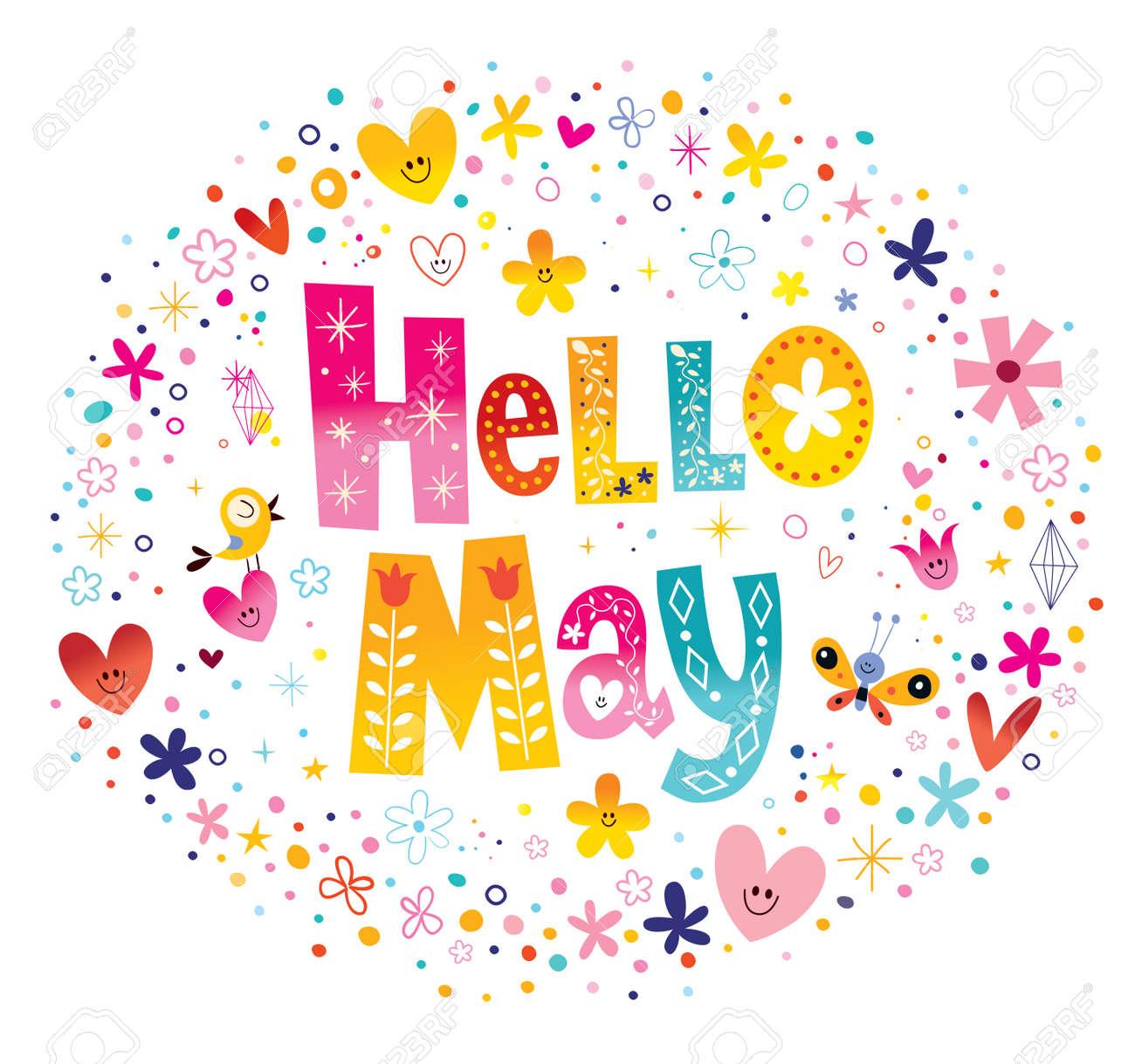 こんにちは 5 月の花と心の春デザインのユニークなレタリングのイラスト