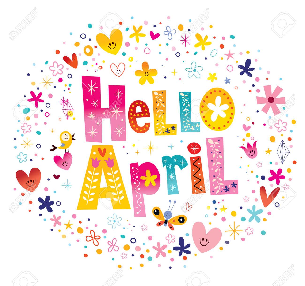 こんにちは4 月の花と心の春デザインのユニークなレタリング