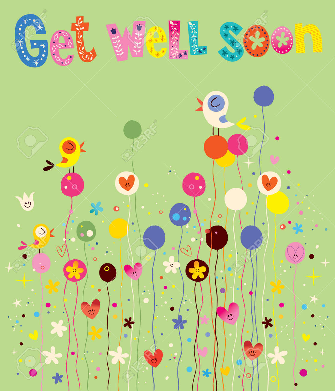 get well soon card with birds flowers and hearts royalty free