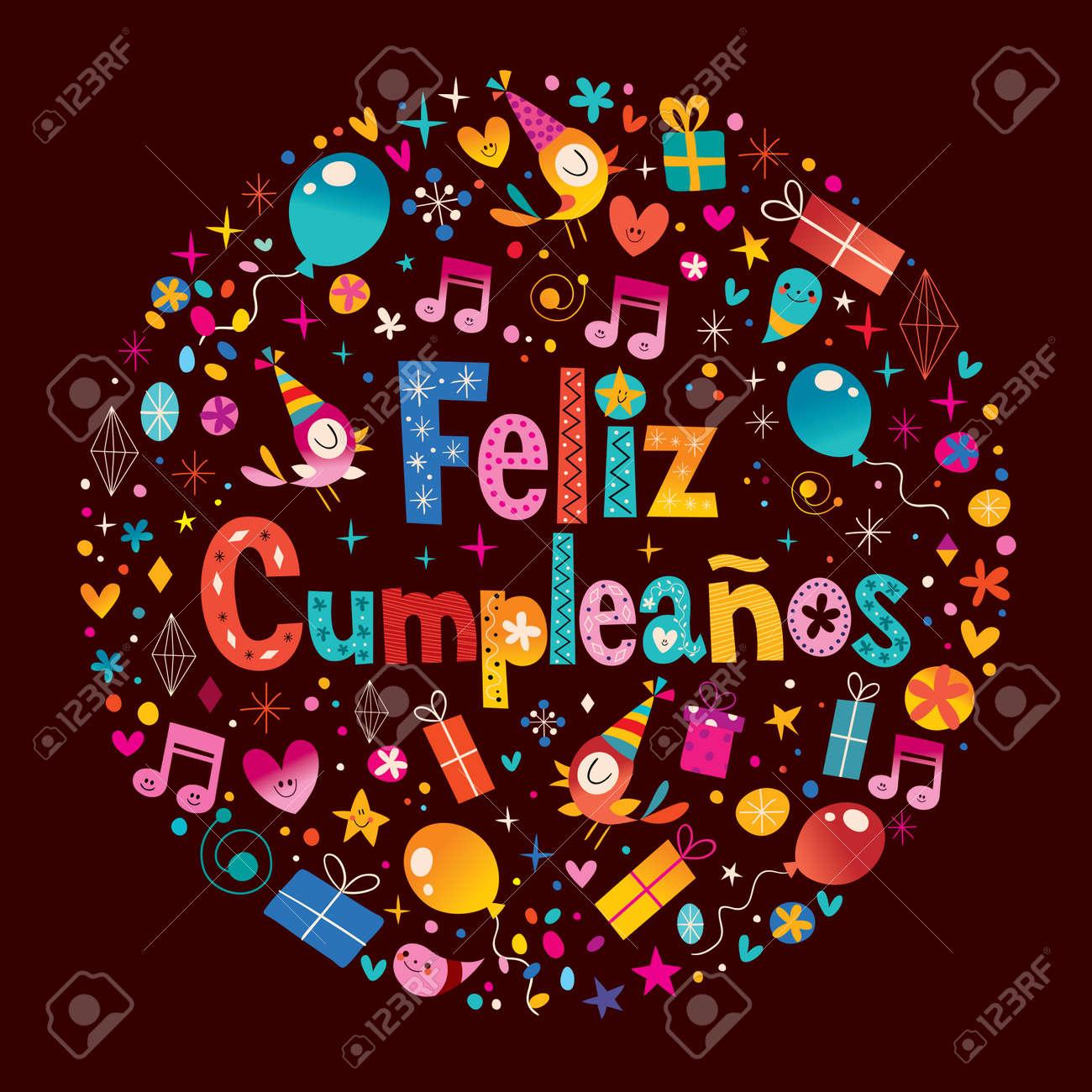 Feliz Cumpleanos Joyeux Anniversaire En Espagnol Carte De Voeux Avec Cercle Composition Clip Art Libres De Droits Vecteurs Et Illustration Image 54725379
