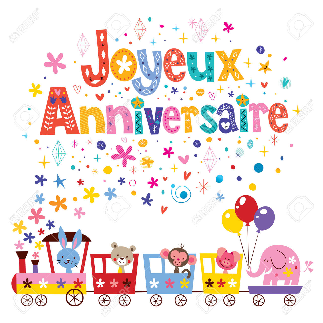 Joyeux anniversaire happy birthday in french greeting card royalty joyeux anniversaire happy birthday in french greeting card stock vector 61780291 m4hsunfo