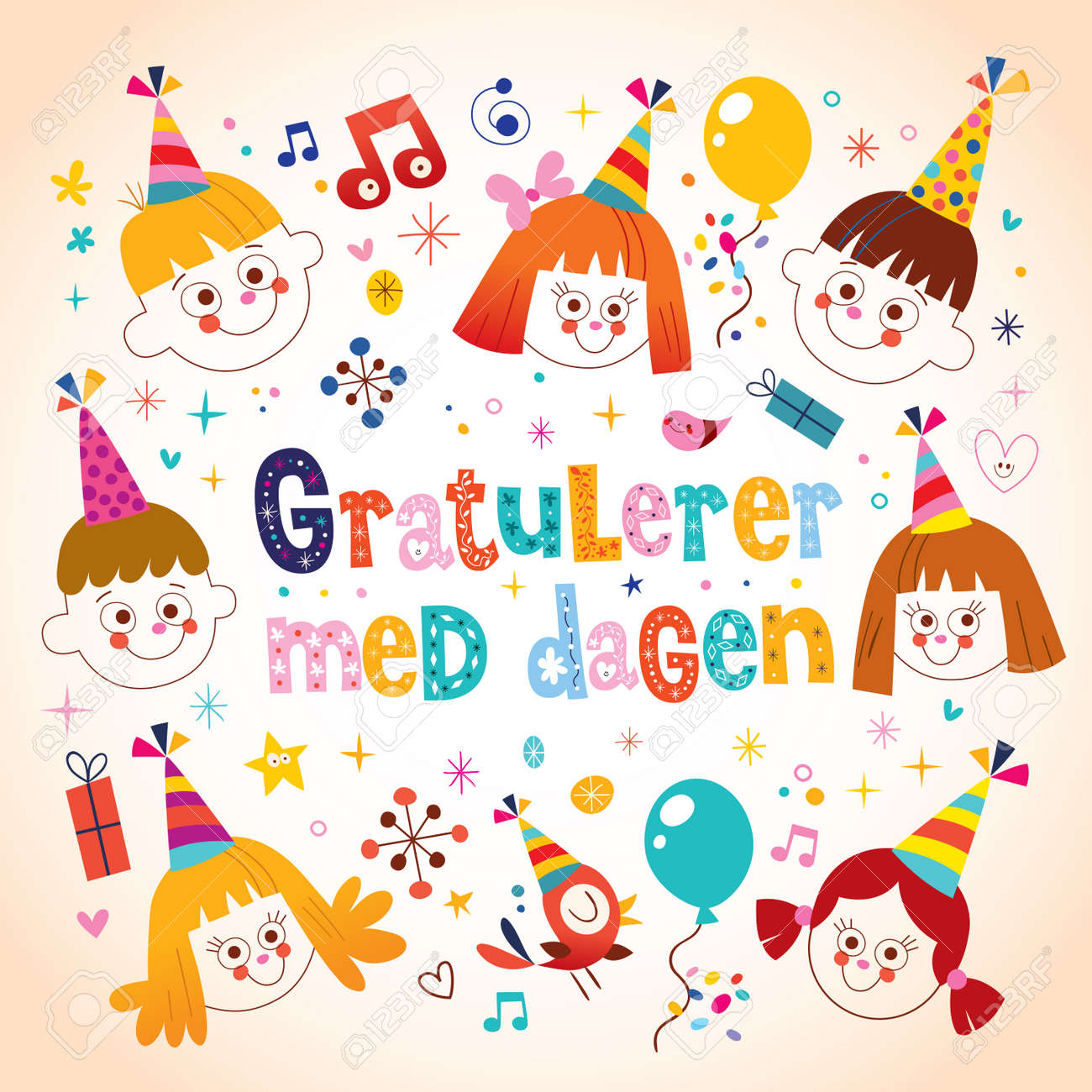 Gratulerer med dagen happy birthday in norwegian kids greeting gratulerer med dagen happy birthday in norwegian kids greeting card stock vector 59014790 m4hsunfo