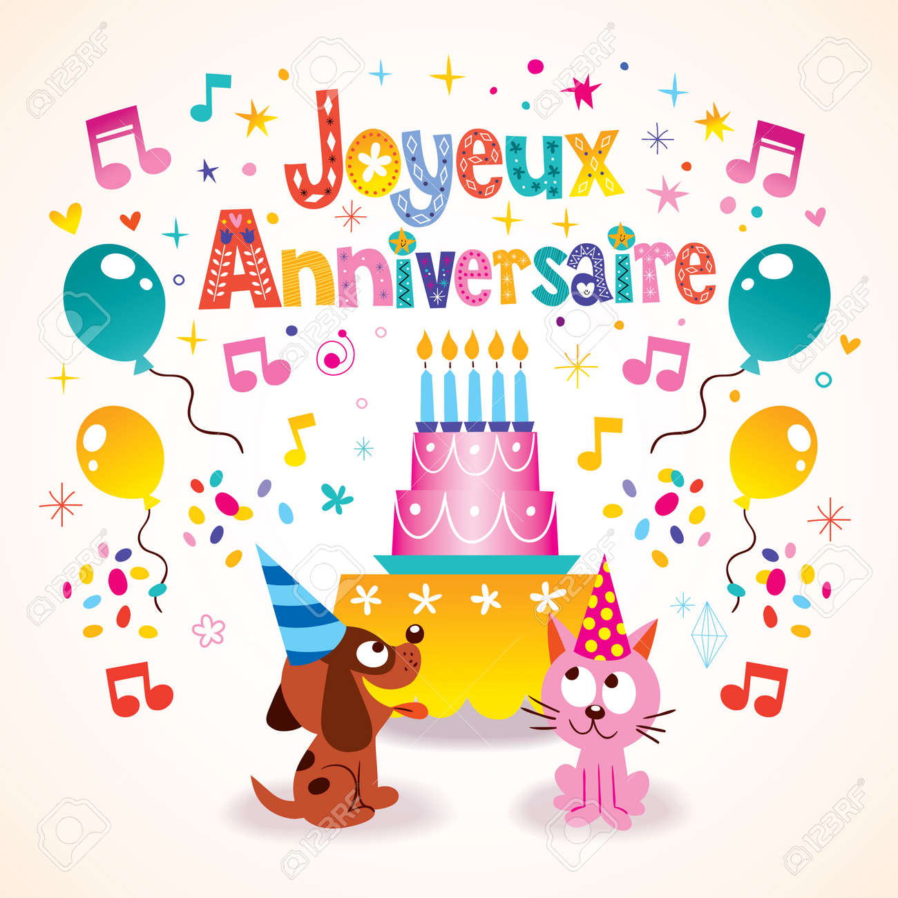 Joyeux Anniversaire Happy Birthday In French Kids Greeting Card Royalty Free Cliparts Vectors And Stock Illustration Image 59015327