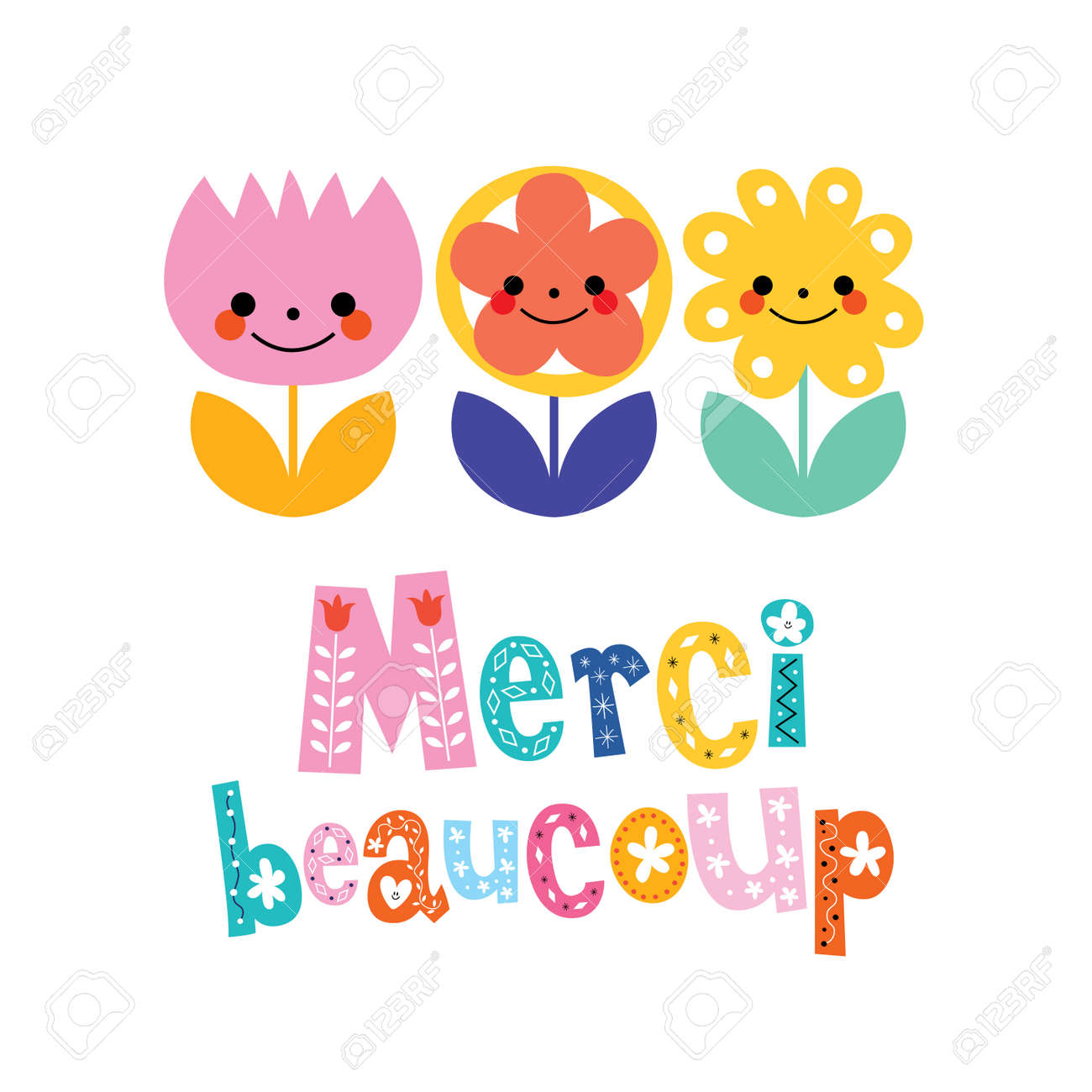 Merci beaucoup thank you very much in french greeting card royalty merci beaucoup thank you very much in french greeting card stock vector 59022276 m4hsunfo