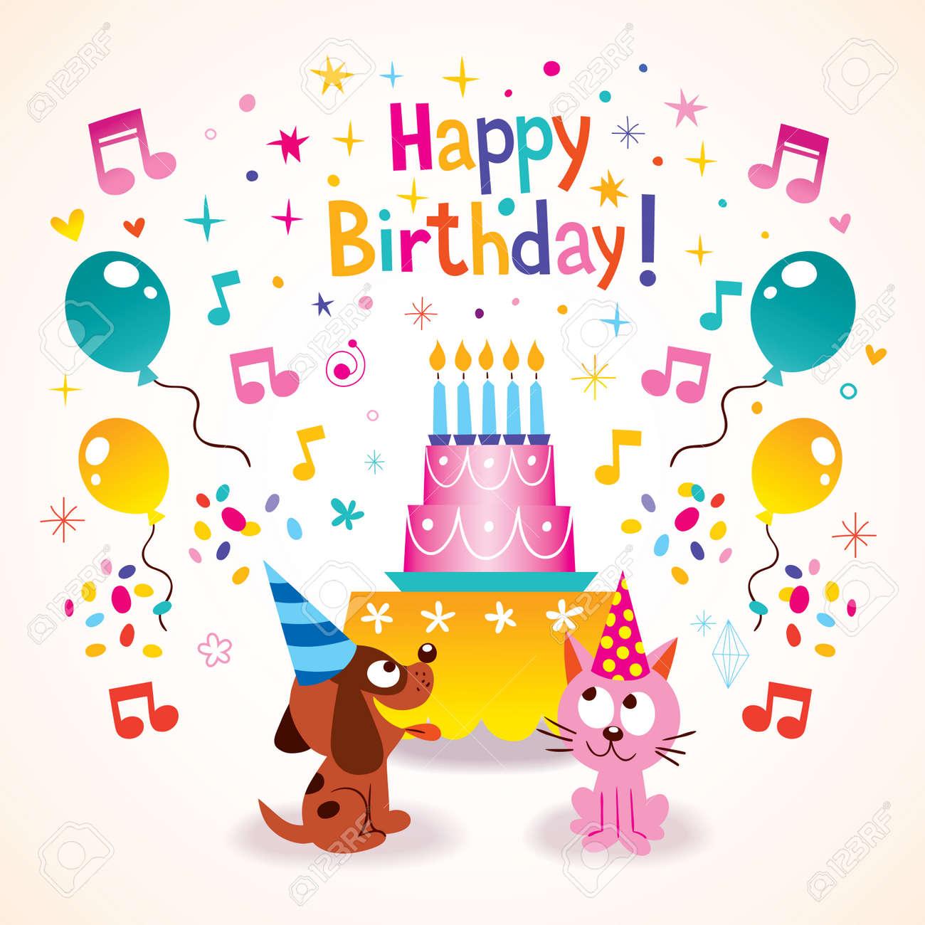 Alles Gute Zum Geburtstag Kinder Grusskarte Lizenzfrei Nutzbare