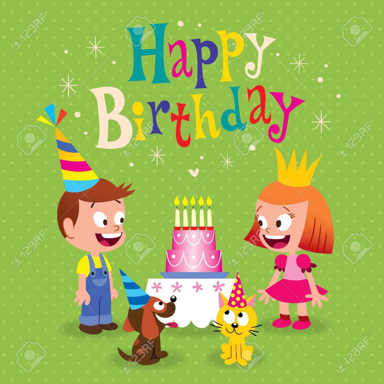 Alles Gute Zum Geburtstag Kinder Grusskarte Mit Kleinen Madchen Und