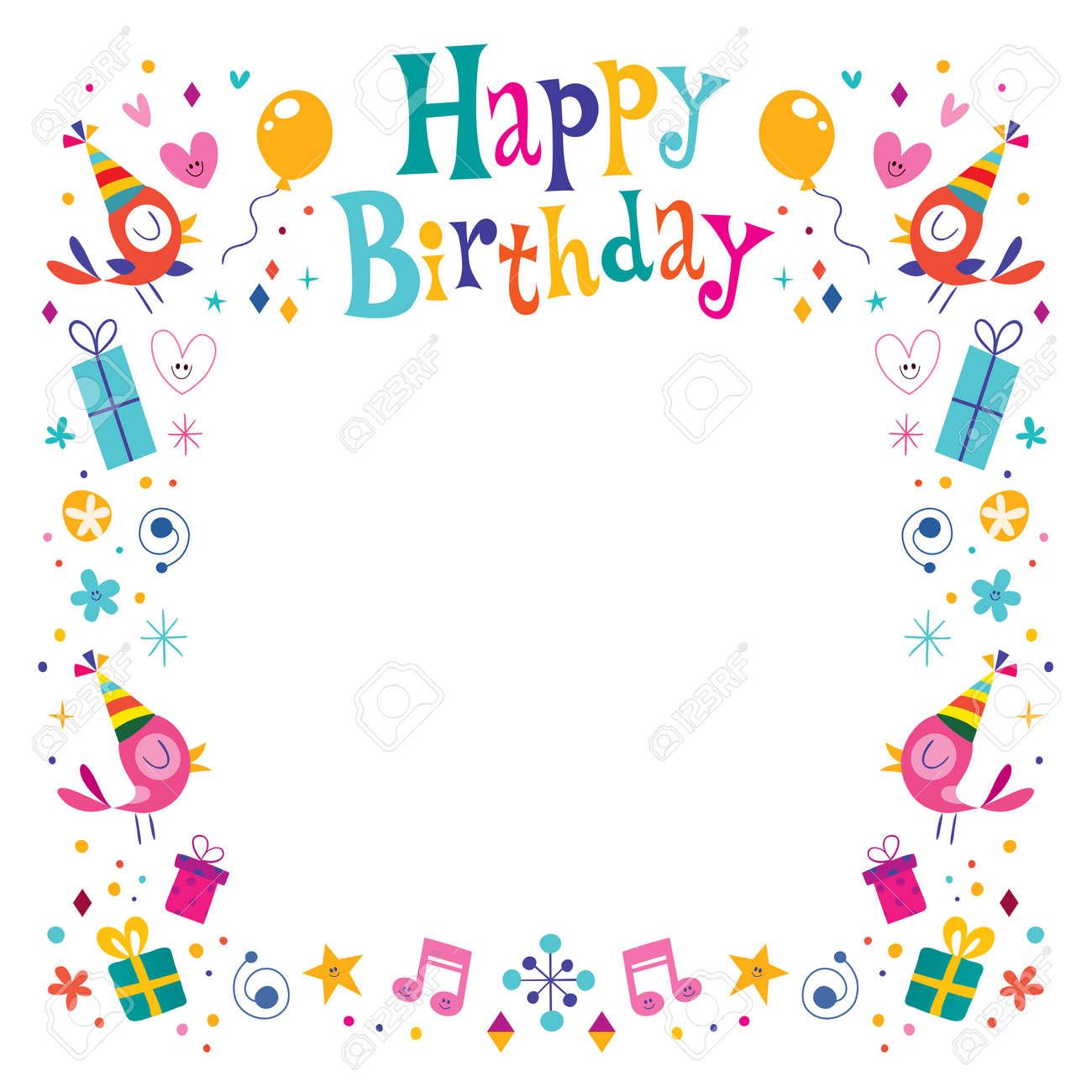 Happy Birthday Decorative Border Frame Royalty Free Cliparts ...