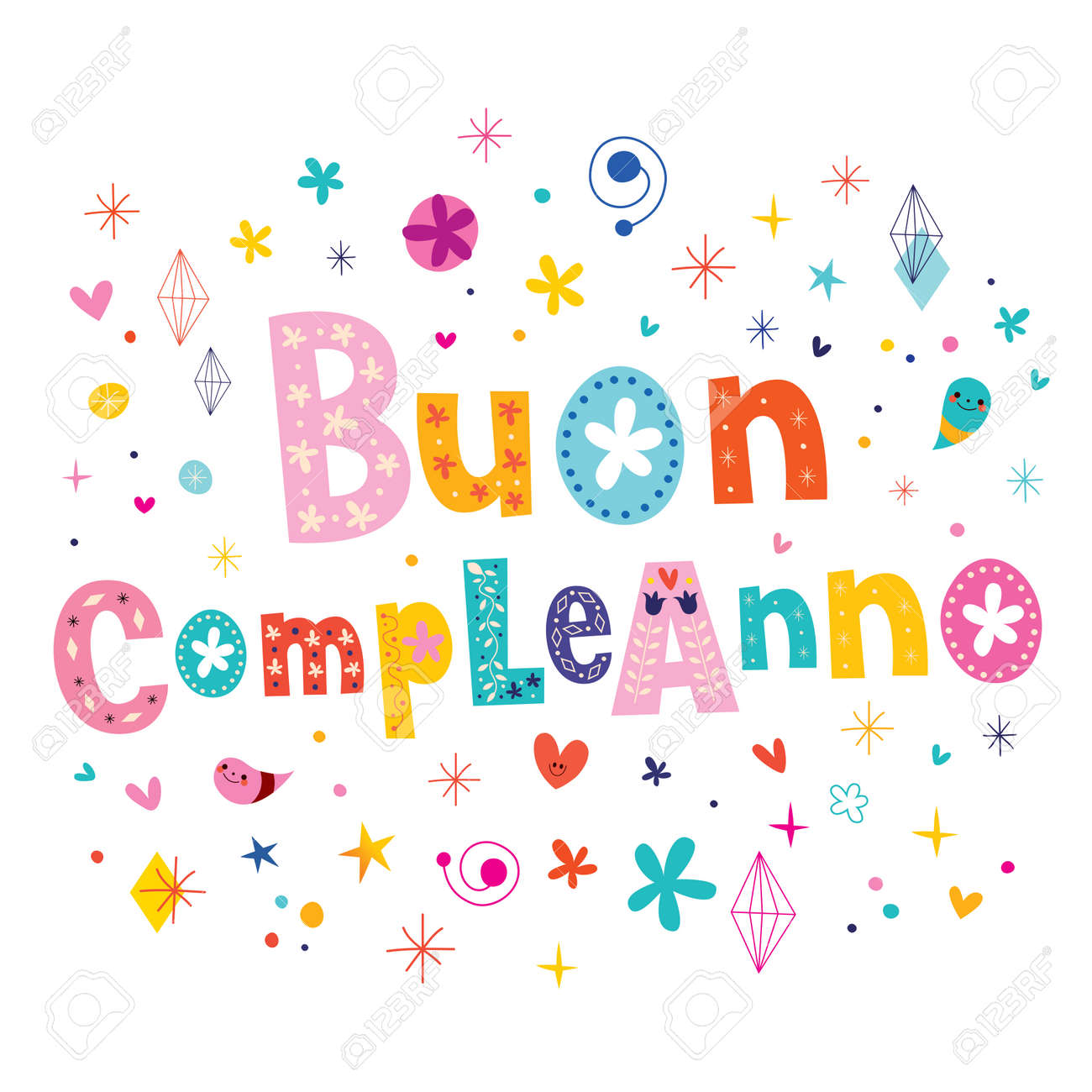 Buon Compleanno Happy Birthday In Italian Greeting Card Royalty – Italian Birthday Card