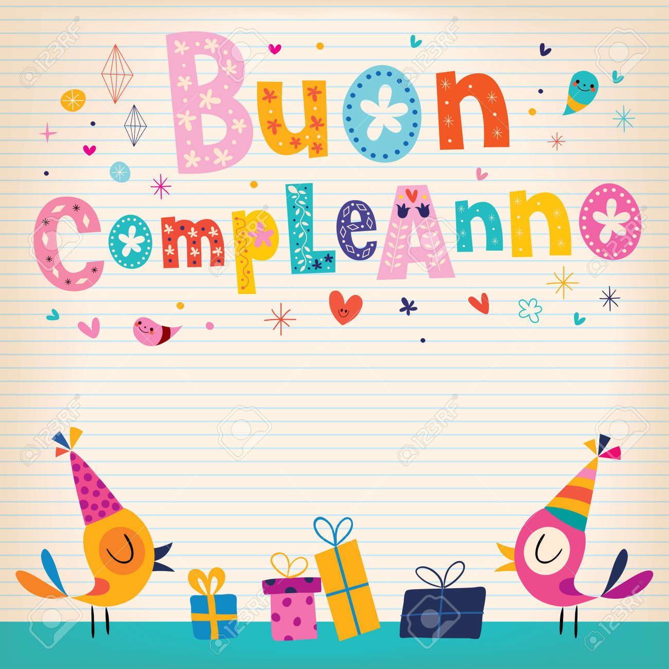Buon Compleanno Happy Birthday In Italian Card Royalty Free Cliparts