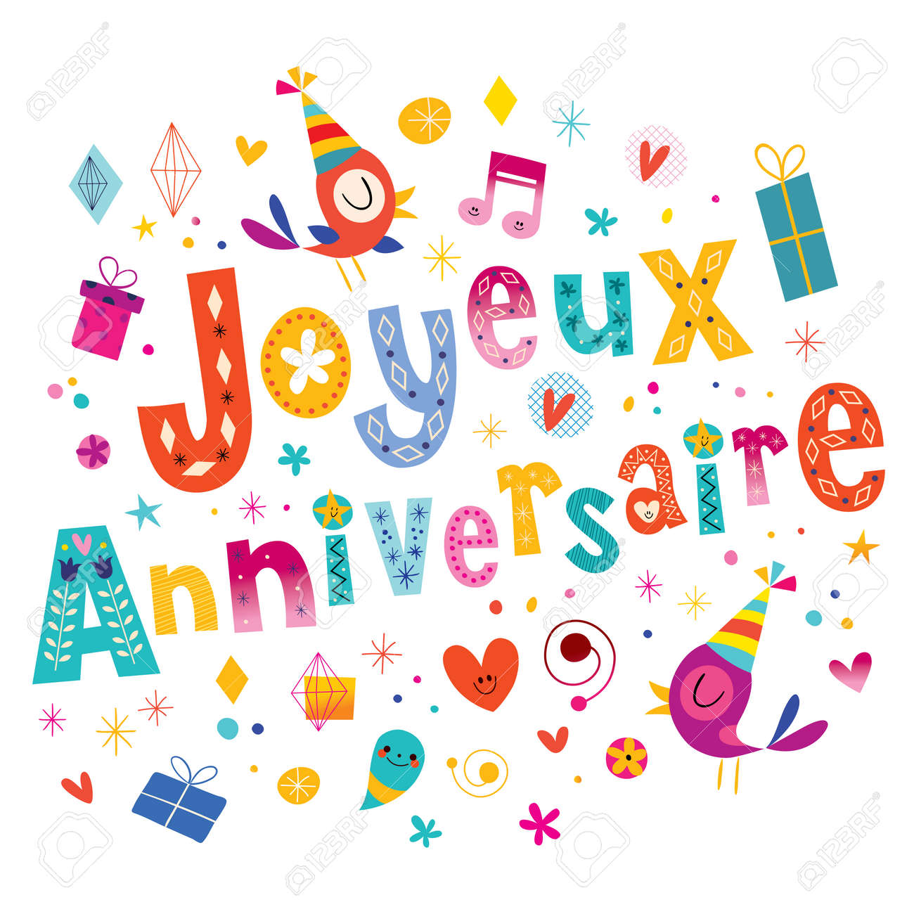 Joyeux anniversaire happy birthday in french greeting card royalty joyeux anniversaire happy birthday in french greeting card stock vector 63641886 m4hsunfo