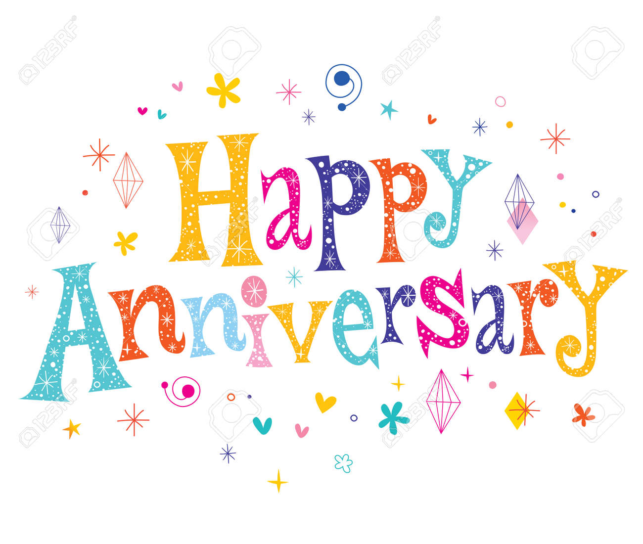 happy anniversary decorative lettering text design royalty free