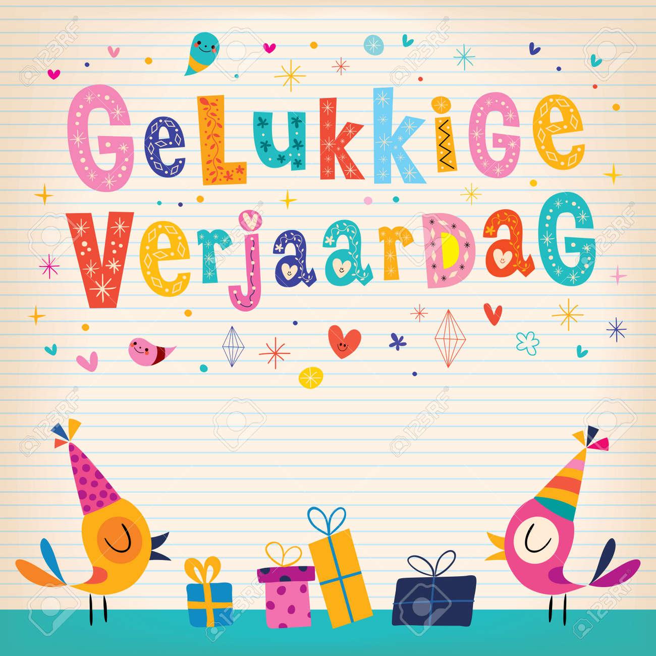 Gelukkige Verjaardag Dutch Alles Gute Zum Geburtstag Grußkarte Mit ...