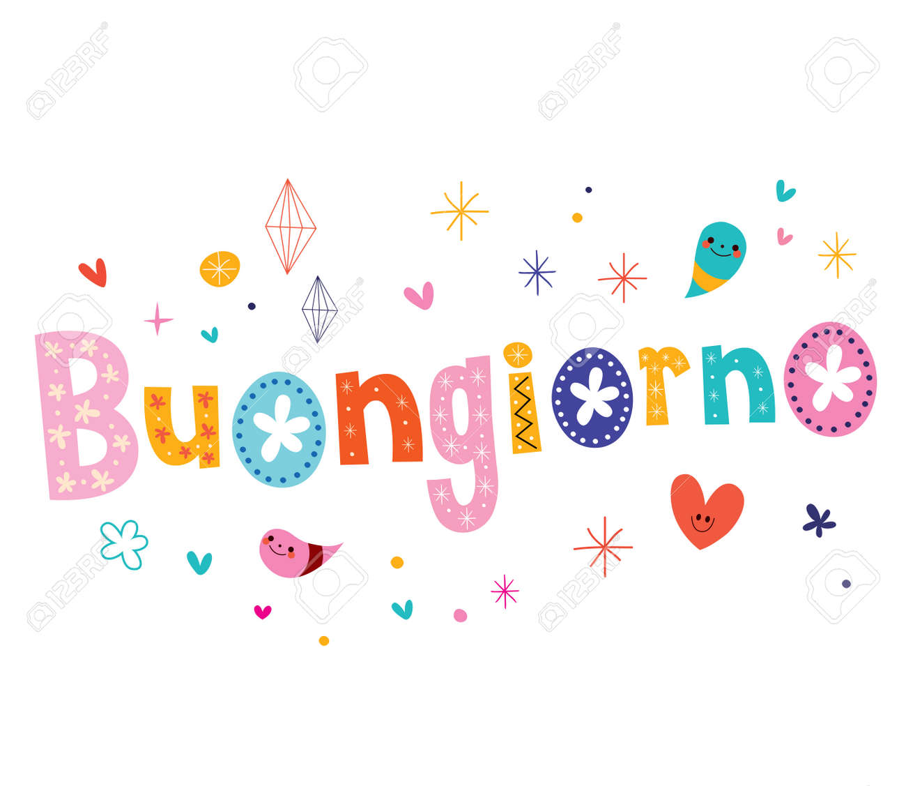 Buongiorno Italian Word Meaning Good Morning Good Day Hello