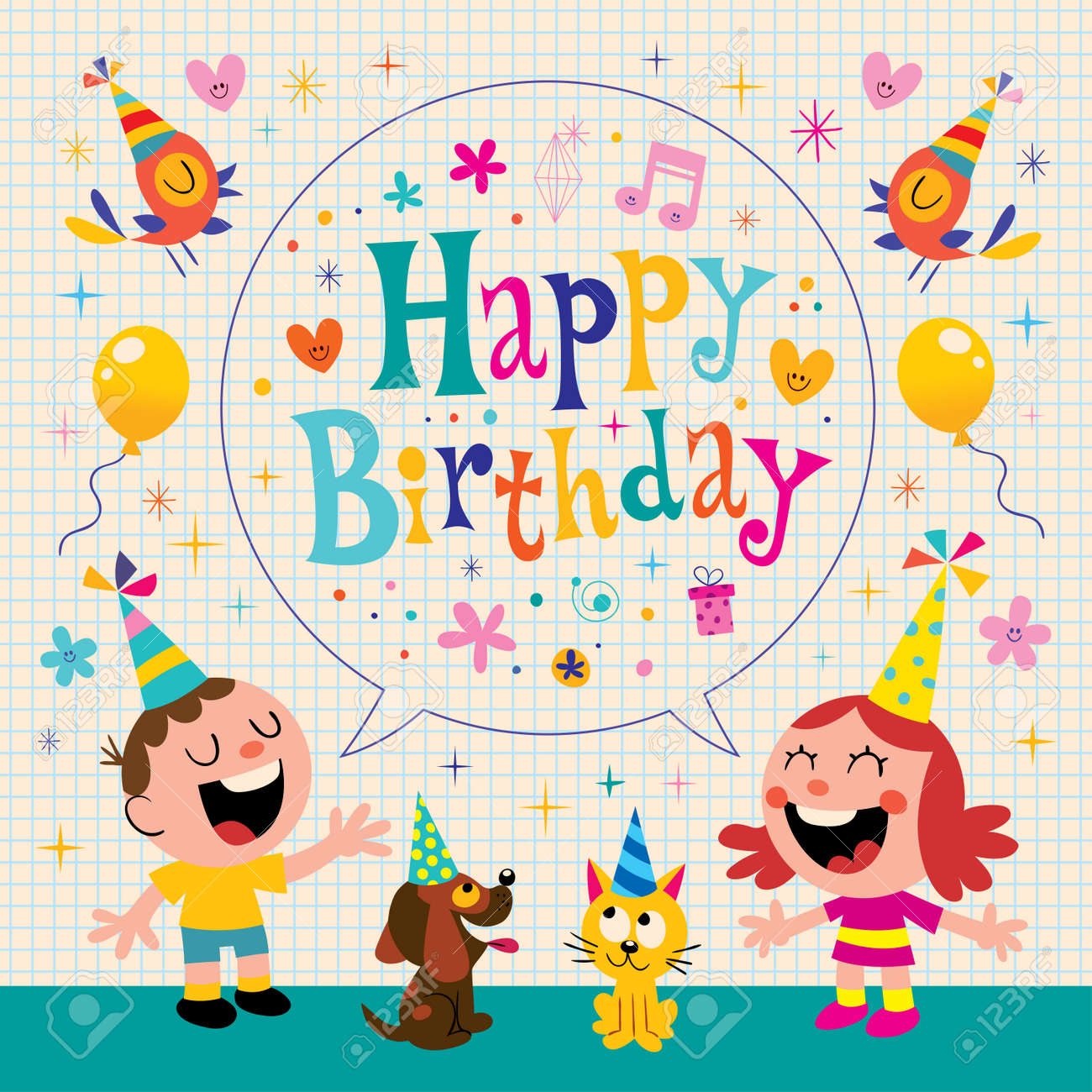 Cool Happy Birthday Kids Greeting Card Design Royalty Free Cliparts Funny Birthday Cards Online Fluifree Goldxyz