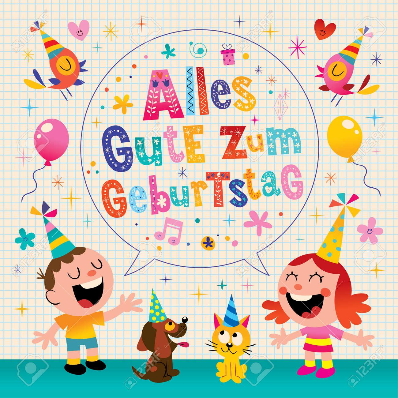Alles Gute Zum Geburtstag Deutsch Allemand Carte De Voeux Joyeux