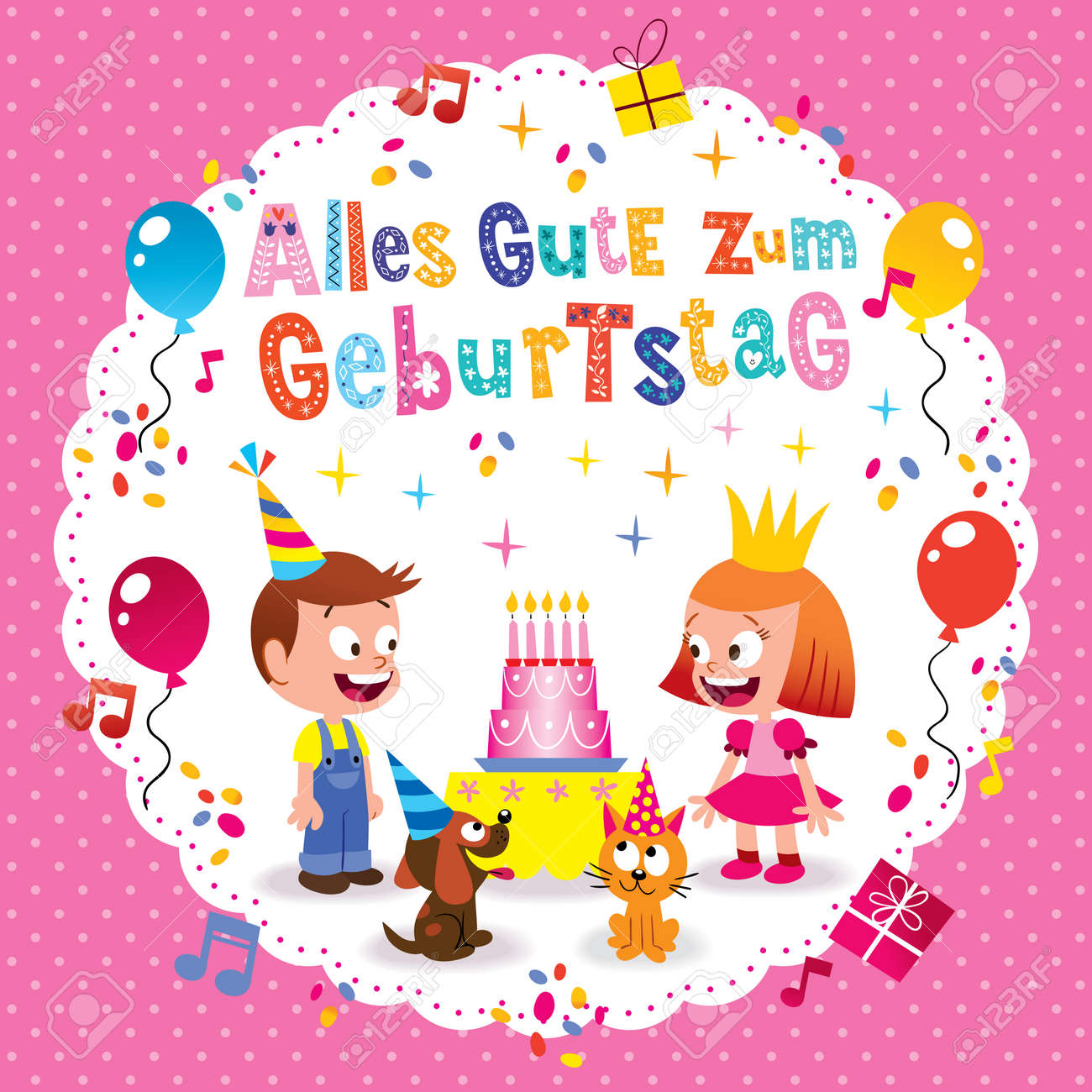 Alles Gute Zum Geburtstag Deutsch German Happy Birthday Greeting Card With Little Boy And Girl Puppy