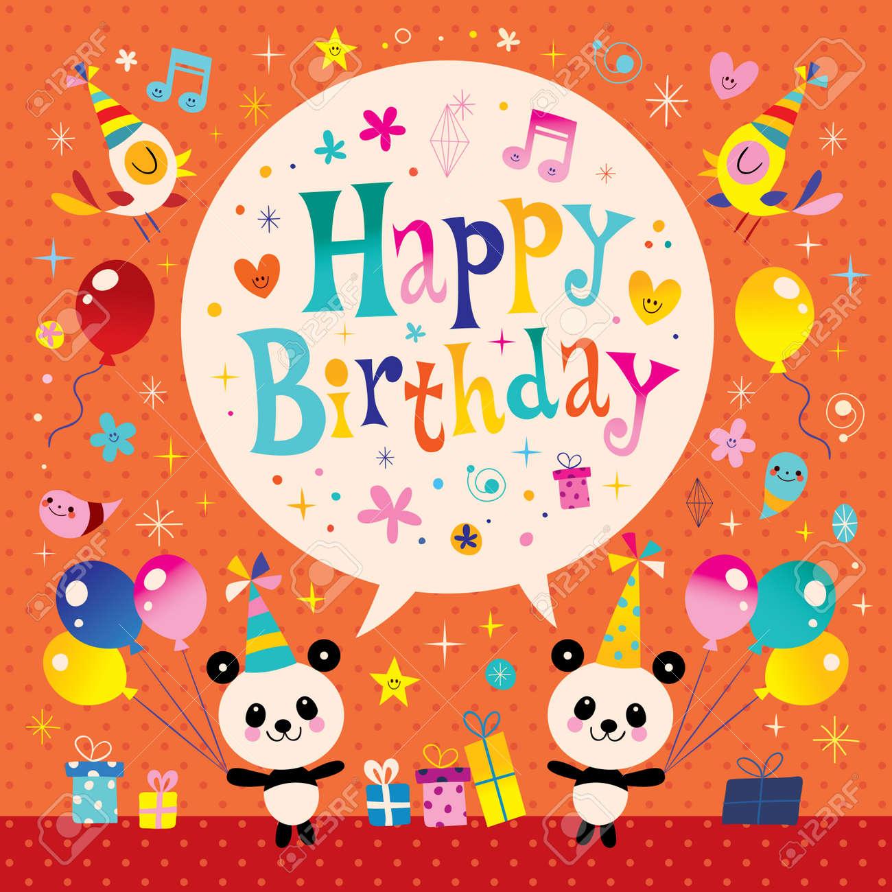 Alles Gute Zum Geburtstag Kinder Grusskarte Mit Niedlichen Panda