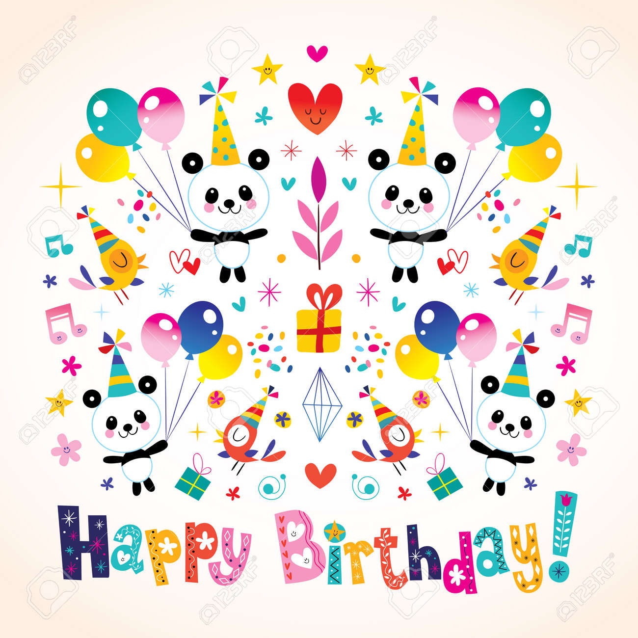 Happy birthday greeting card with cute panda bears royalty free happy birthday greeting card with cute panda bears stock vector 76878557 m4hsunfo