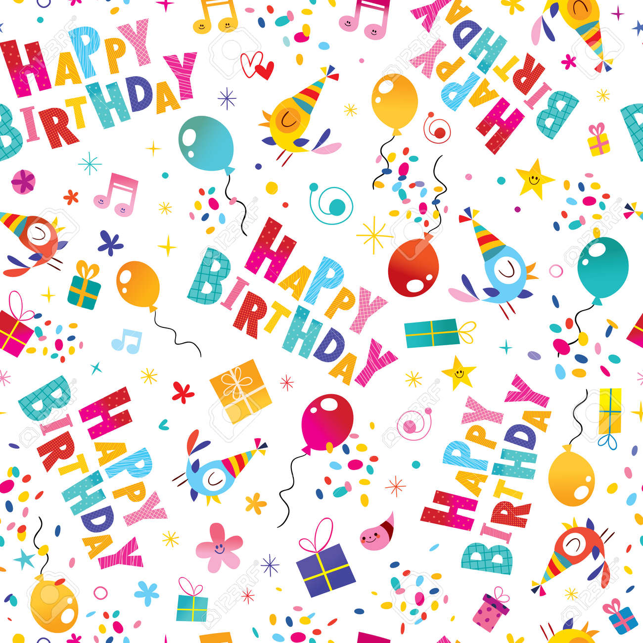 Happy Birthday Wrapping Paper Seamless Pattern Stock Vector