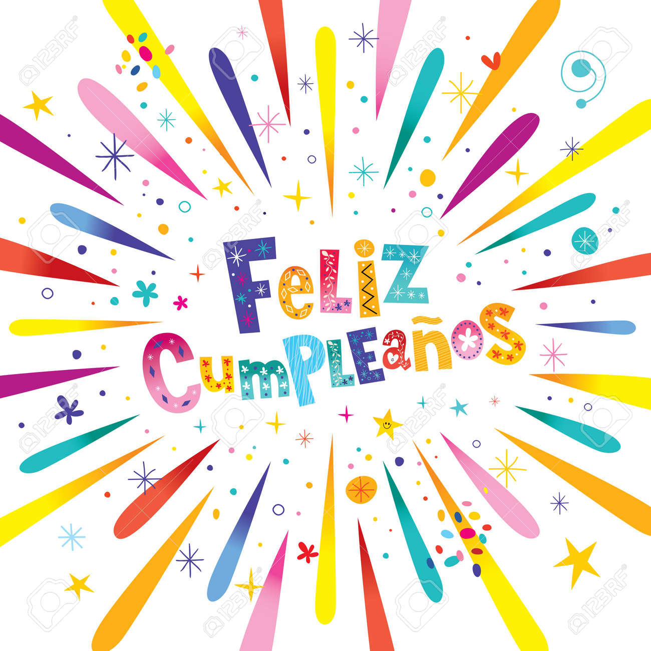 Feliz Cumpleanos Happy Birthday In Spanish Greeting Card With