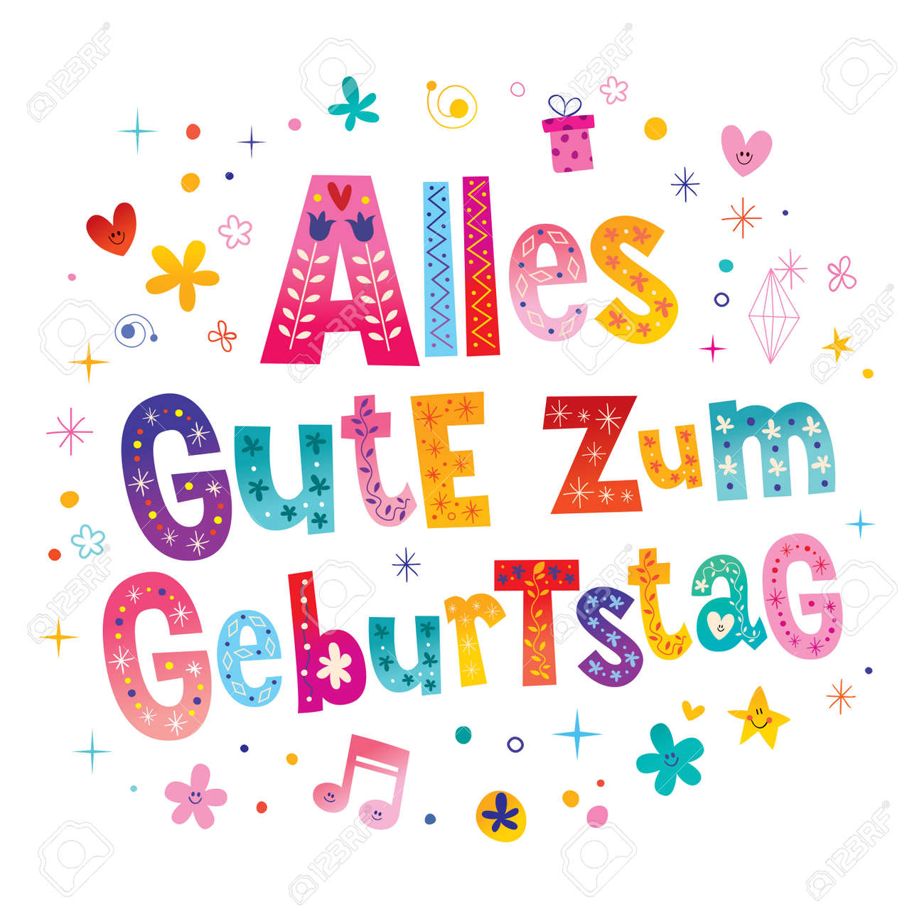 Alles Gute Zum Geburtstag Deutsch German Happy Birthday Greeting Card Stock Vector