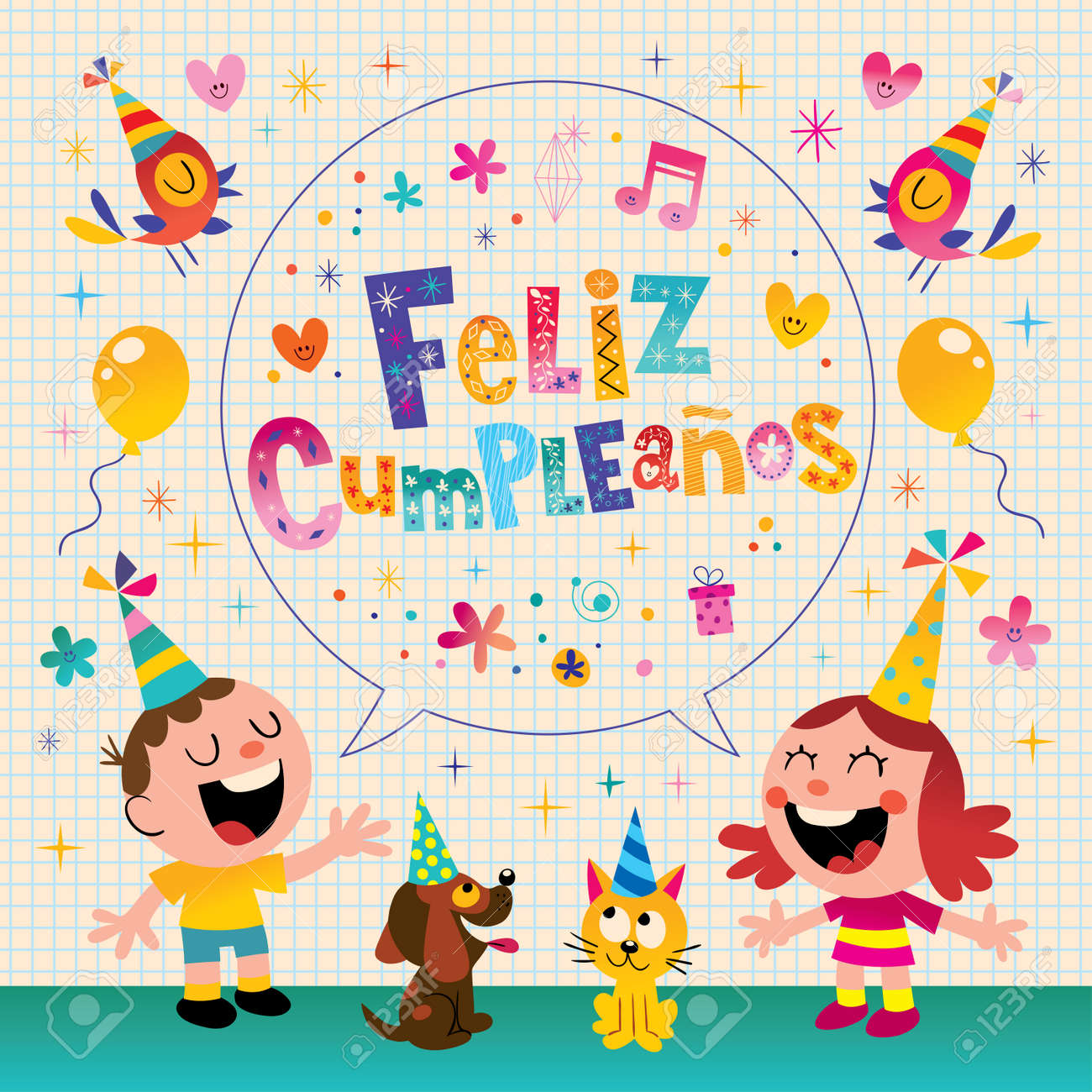 Feliz Cumpleanos Happy Birthday In Spanish Kids Greeting Card