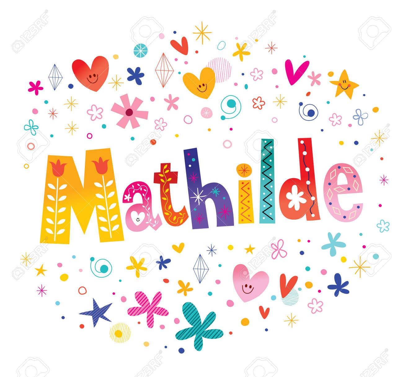 Mathilde girls name decorative lettering type design