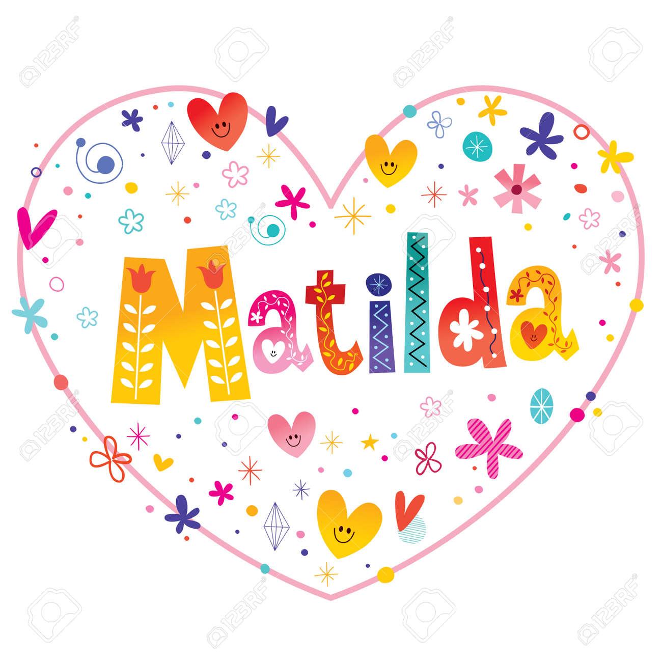 マチルダ女の子名前装飾レタリング ハート愛設計のイラスト素材ベクタ