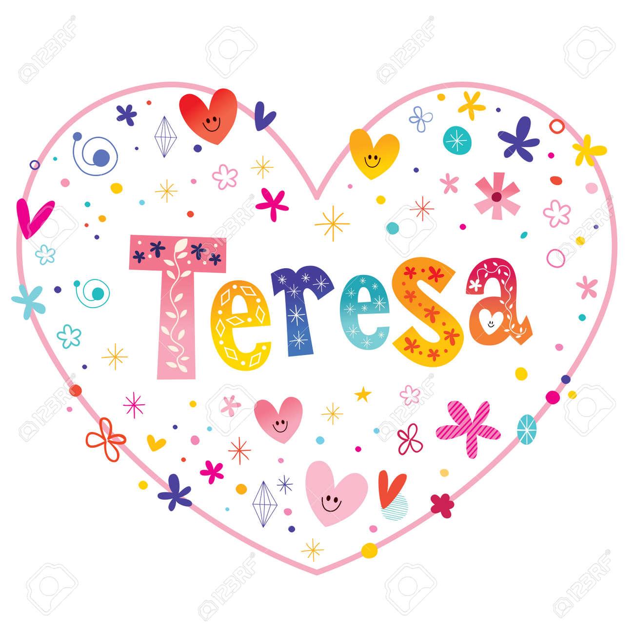 Teresa girls name decorative lettering heart shaped love design