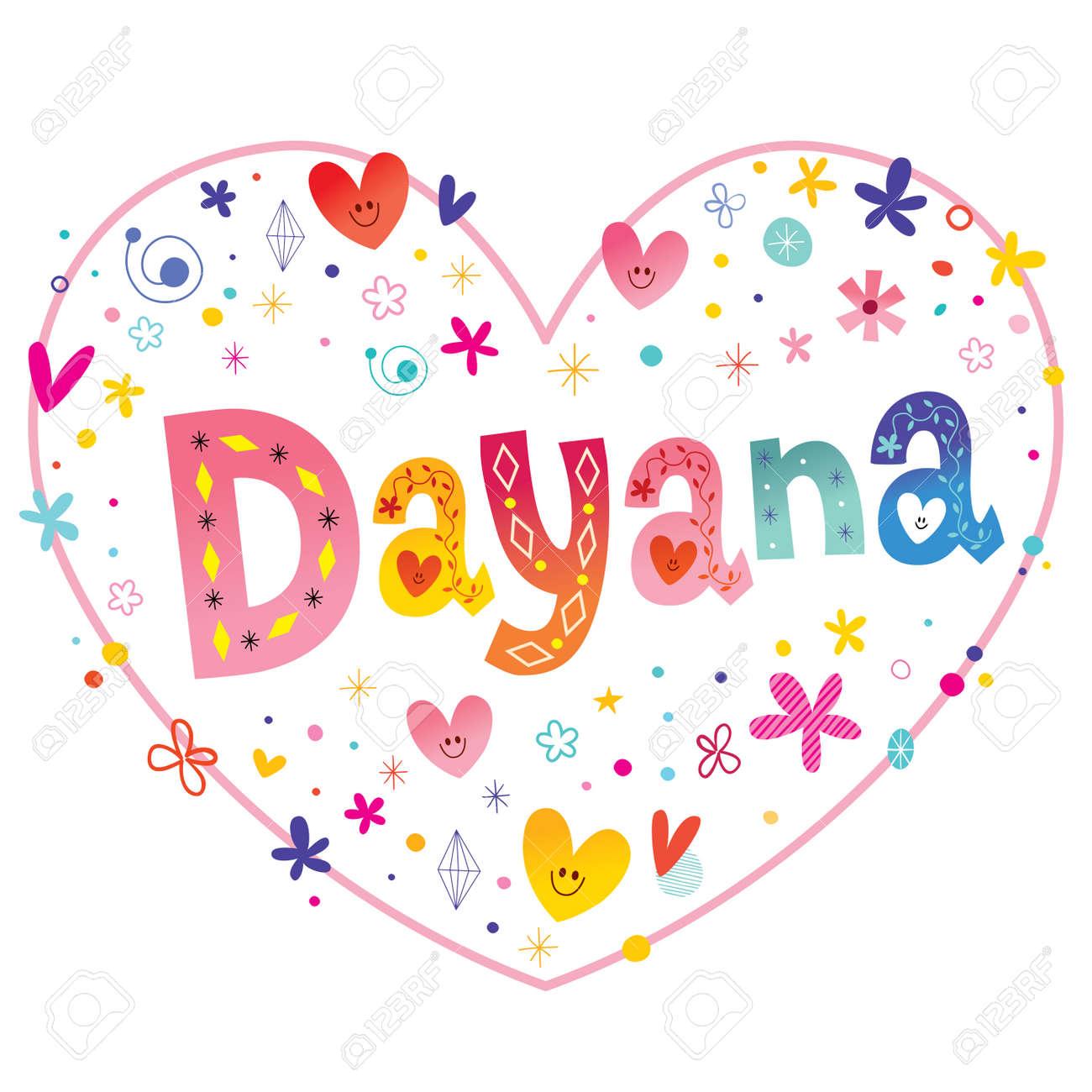 Dayana Niñas Nombre Decorativo Letras Corazón En Forma De Diseño De