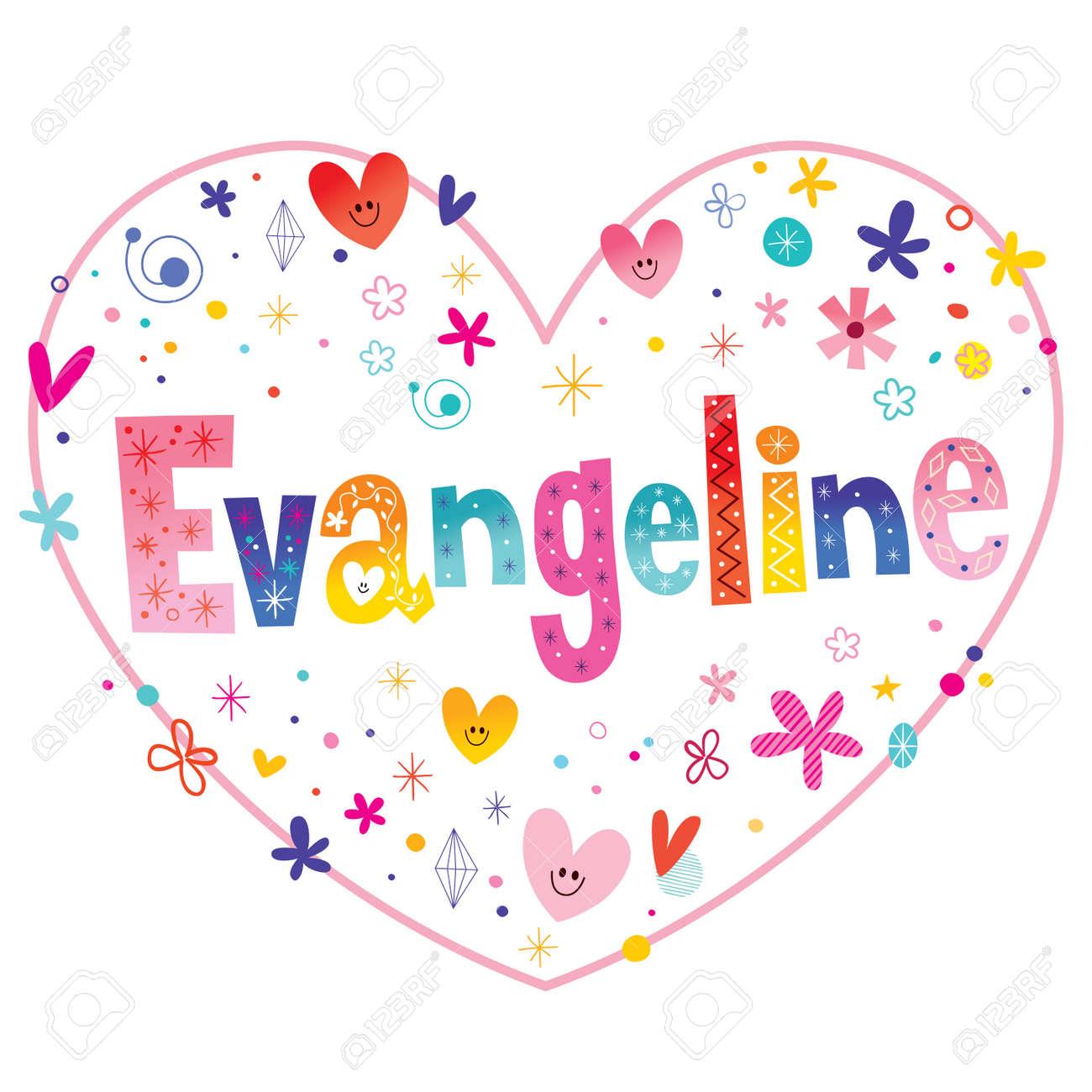 Evangeline Niñas Nombre Diseño De Amor En Forma De Corazón