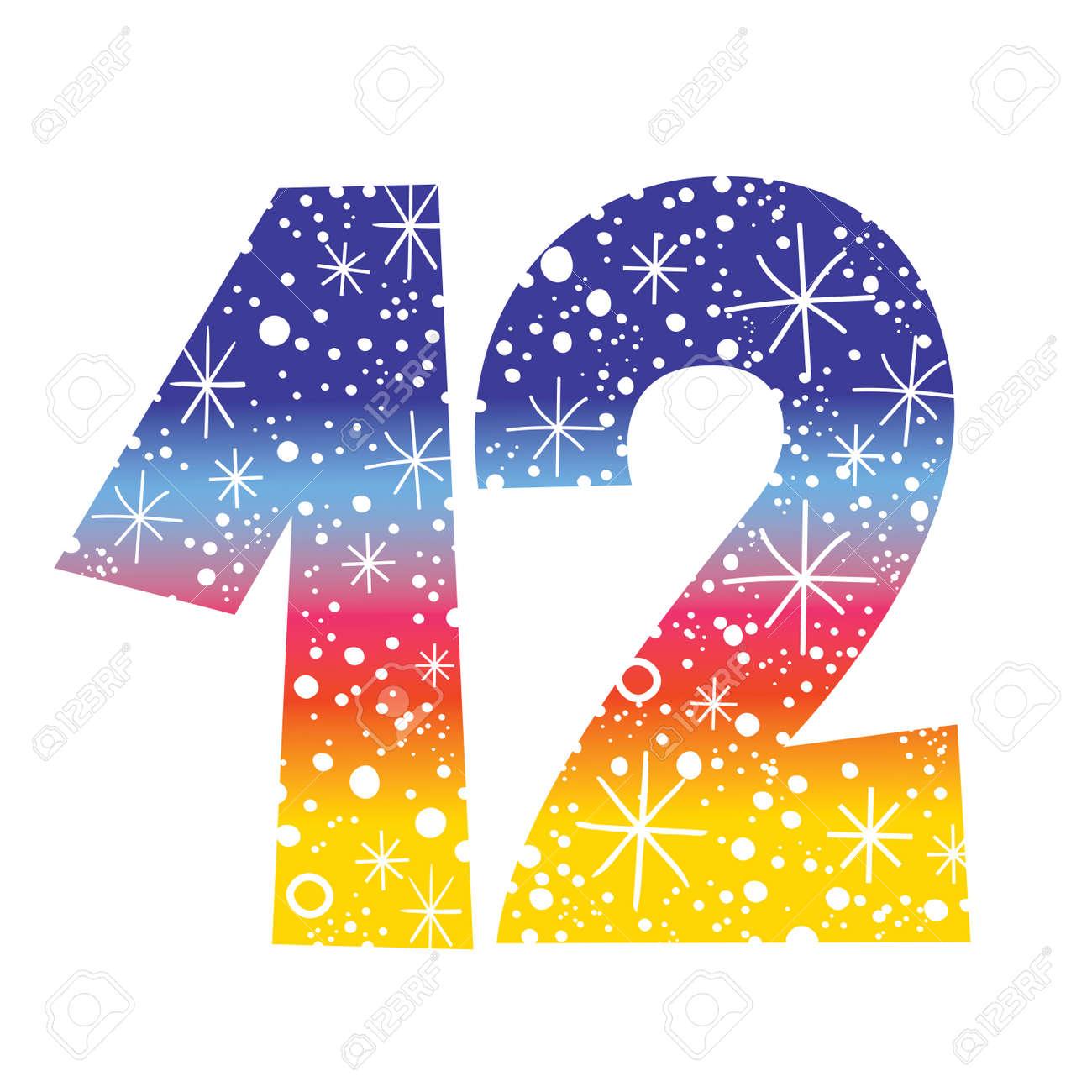 Celebratory Number Twelve For Birthdays Celebrations Royalty Free ...