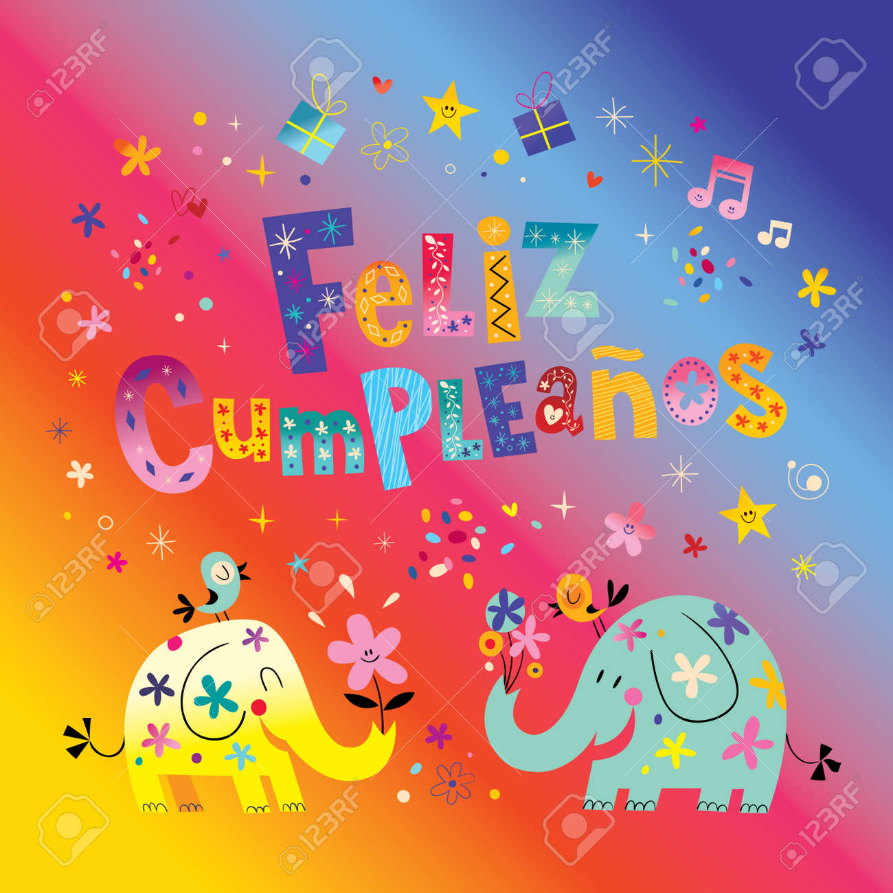 Feliz Cumpleanos Happy Birthday In Spanish Greeting Card With