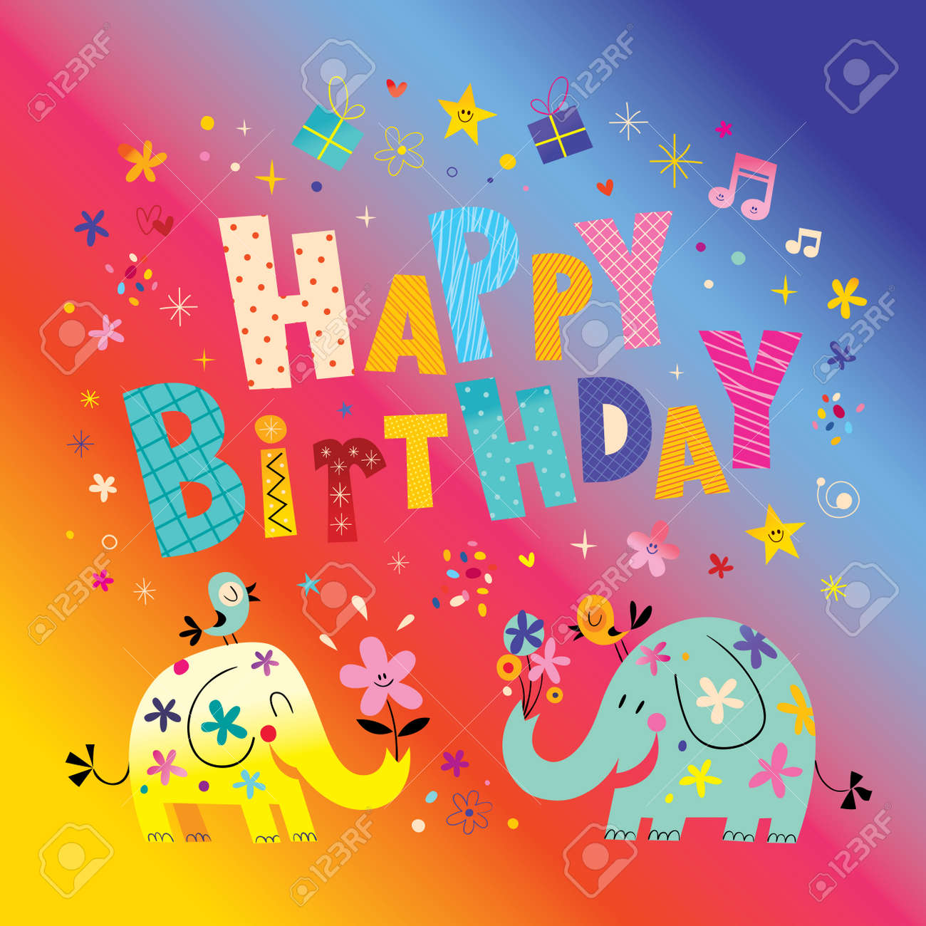 Happy Birthday Greeting Card With Cute Elephants Stock Vector
