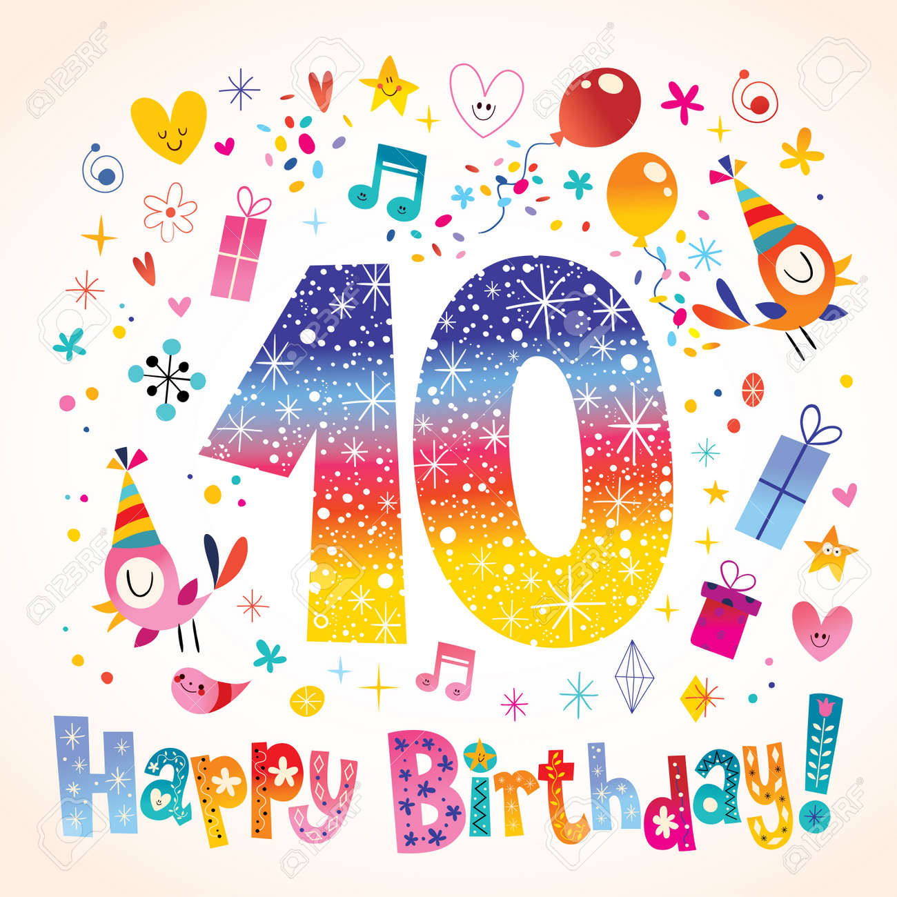 Happy Birthday 10 Years Teen Greeting Card Stock Vector