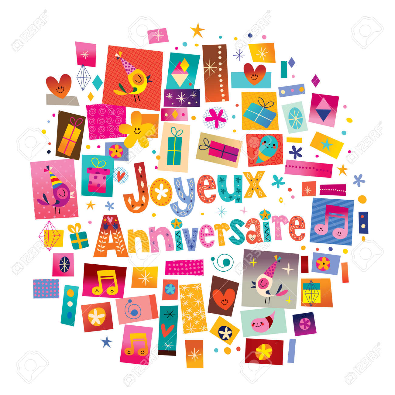 Joyeux anniversaire happy birthday in french greeting card royalty joyeux anniversaire happy birthday in french greeting card stock vector 78610588 m4hsunfo