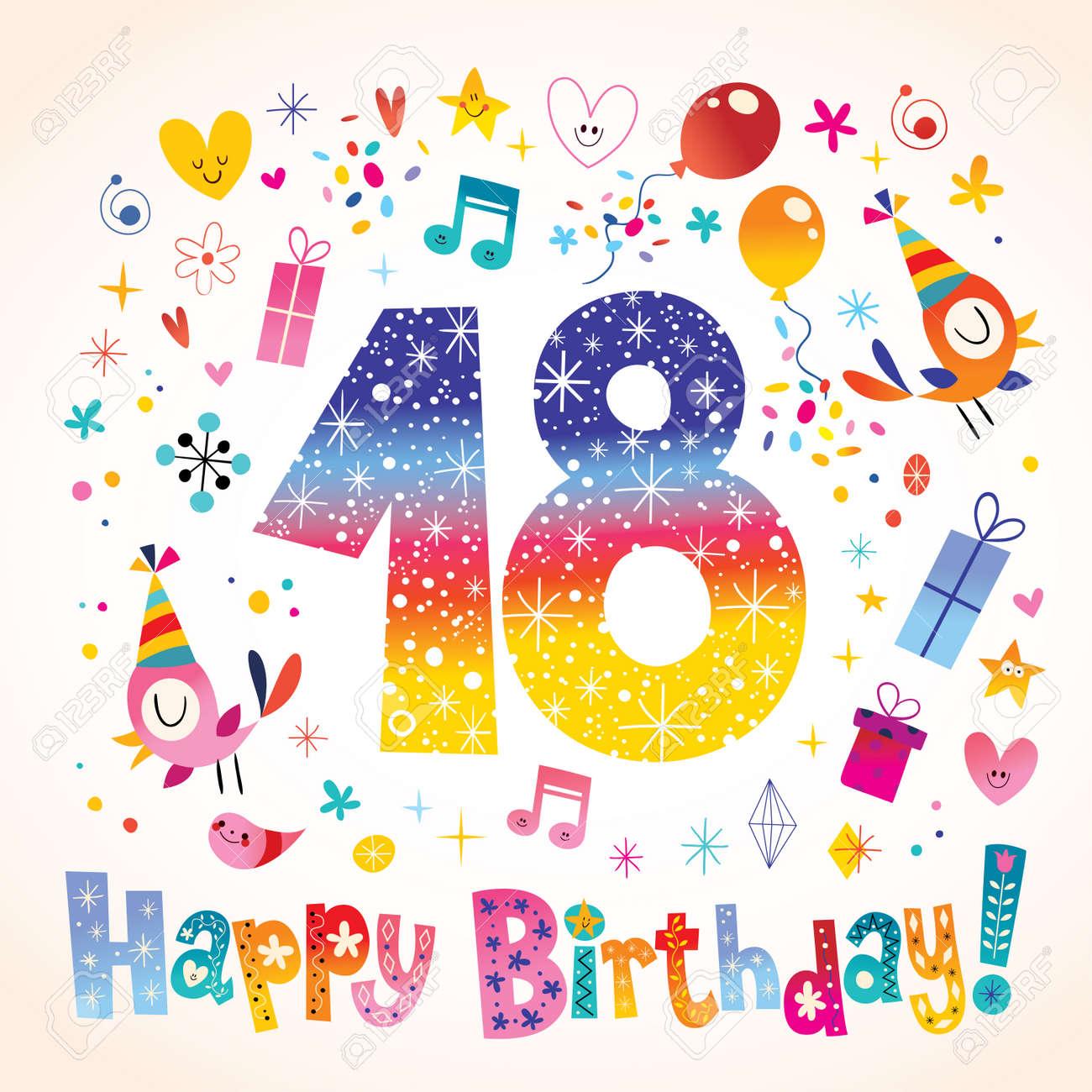 08e7cda3f Feliz cumpleaños 18 años de tarjetas de felicitación Foto de archivo -  78610849