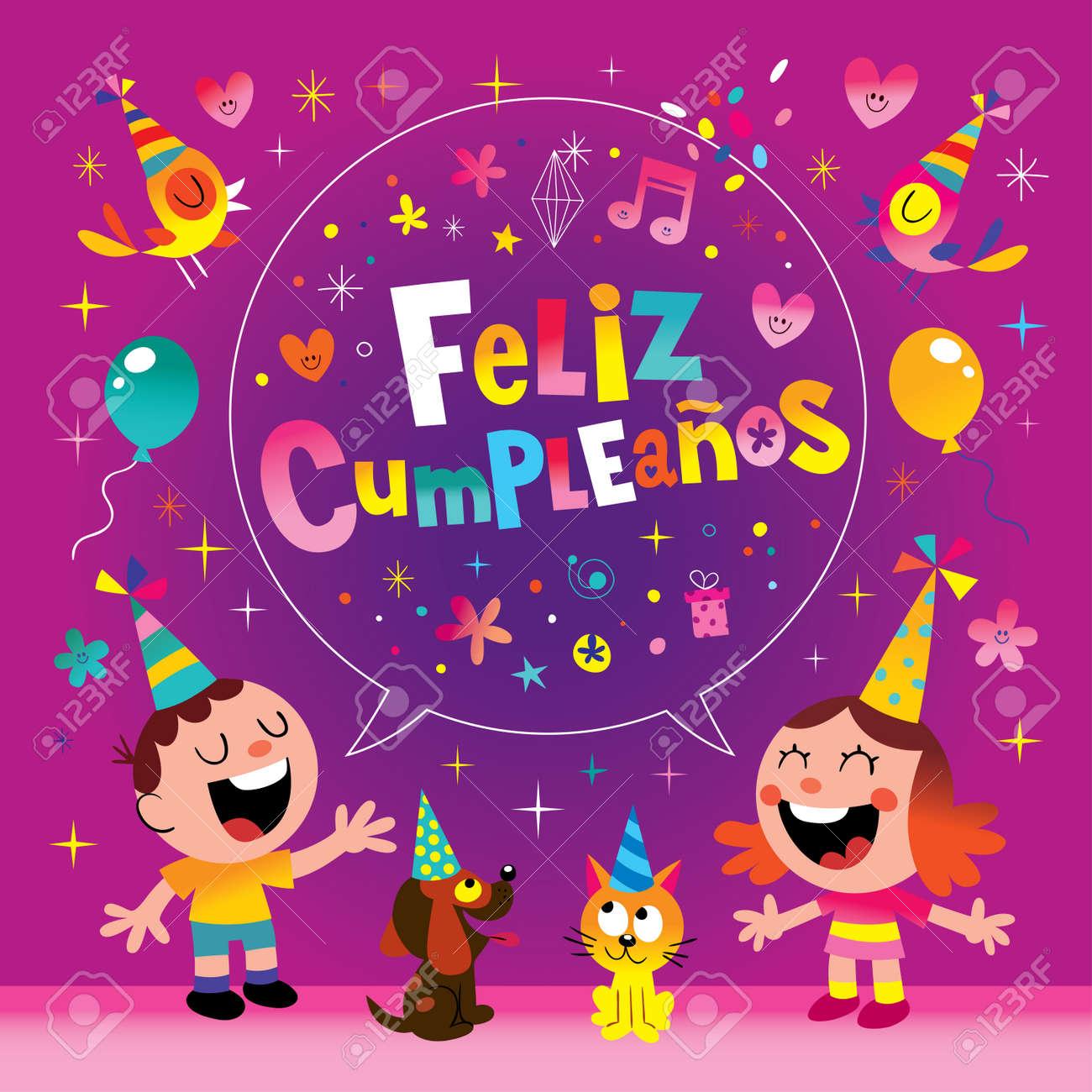 Feliz cumpleanos happy birthday in spanish kids greeting card feliz cumpleanos happy birthday in spanish kids greeting card stock vector 80251378 bookmarktalkfo Images