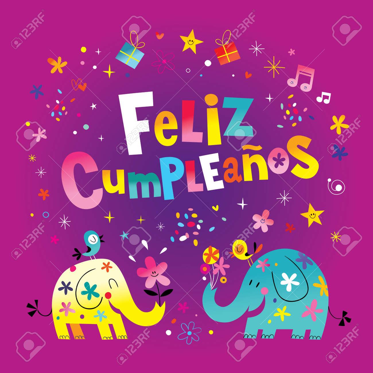 Feliz cumpleanos happy birthday in spanish greeting card with feliz cumpleanos happy birthday in spanish greeting card with cute elephants stock vector 80121370 bookmarktalkfo Images