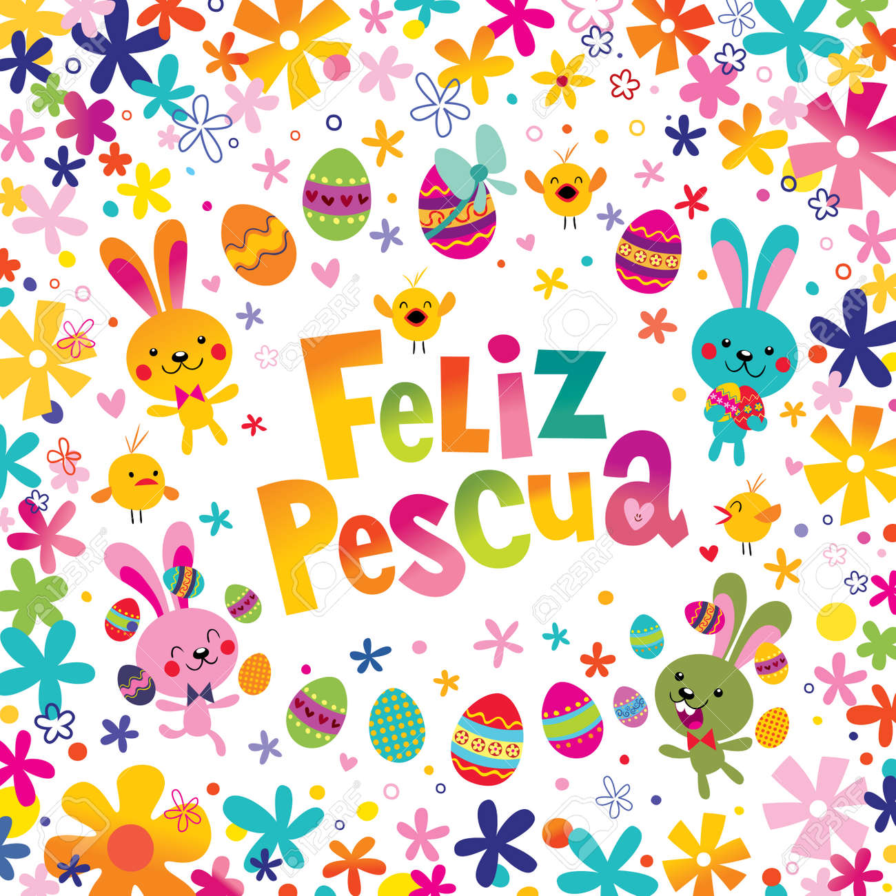 Feliz pascua happy easter in spanish greeting card royalty free feliz pascua happy easter in spanish greeting card stock vector 93388347 m4hsunfo