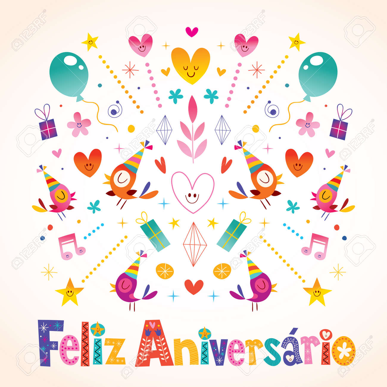 Happy Birthday Card In Spanish Stock Vector