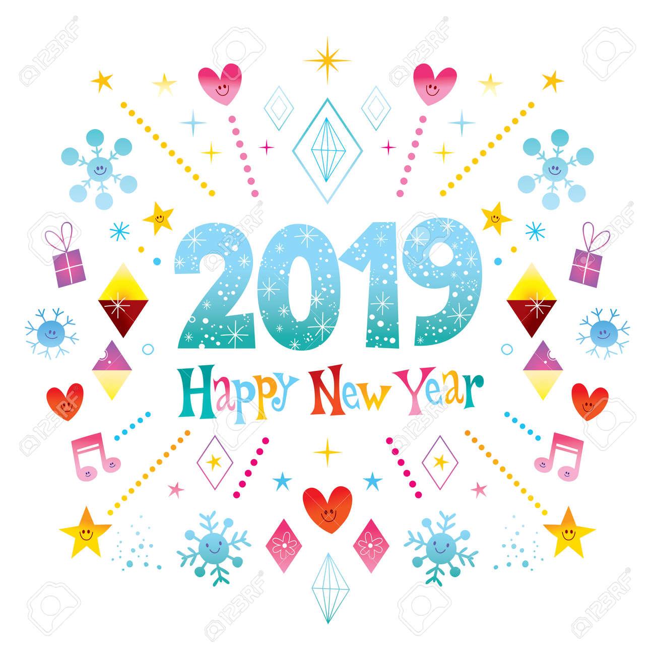 Happy New Year 2019 Greeting Card Royalty Free Cliparts Vectors