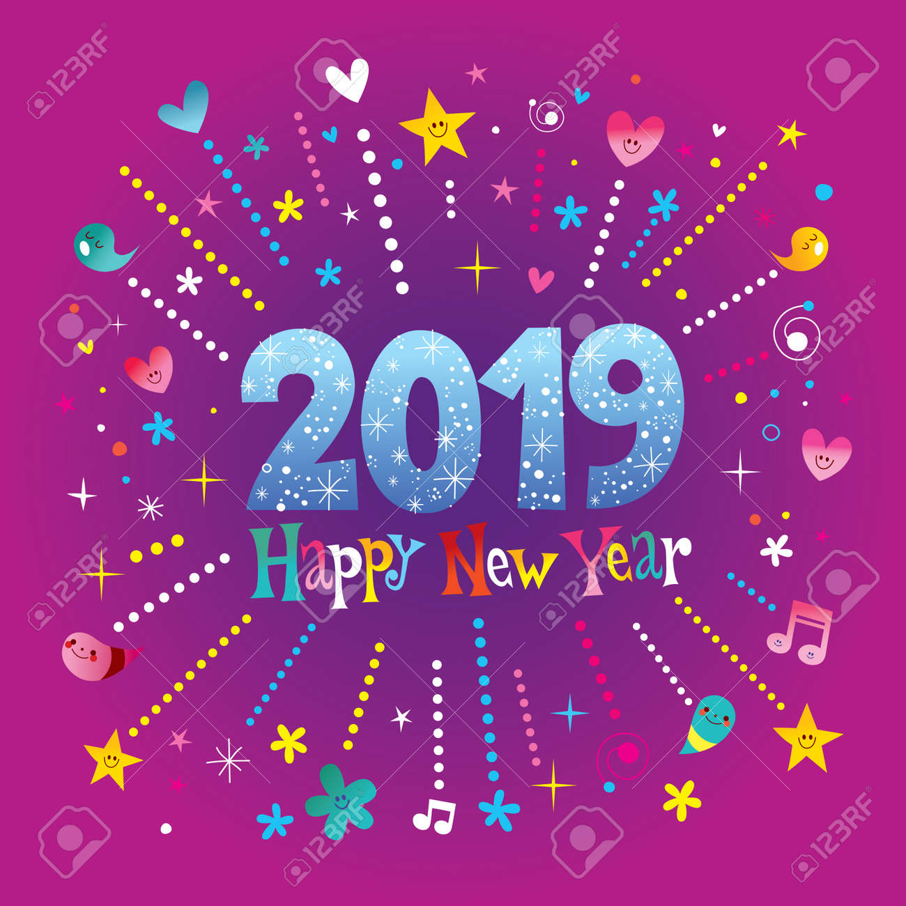 Happy new year 2019 greeting card with stars hearts musical happy new year 2019 greeting card with stars hearts musical instruments on purple background m4hsunfo