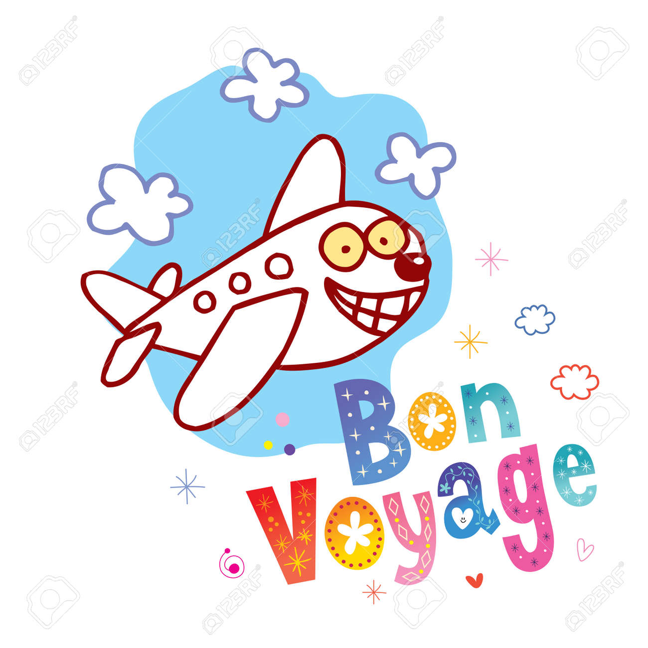 Bon Voyage - have a nice trip in French - cute airplane character mascot travel tourism illustration - 104586912