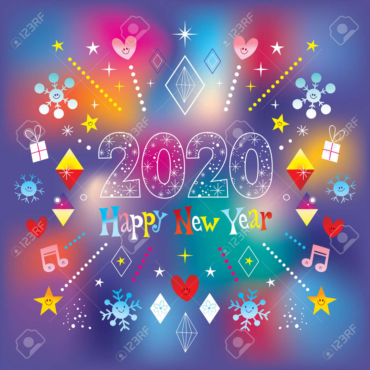 Happy New Year 2020 greeting card - 118424454
